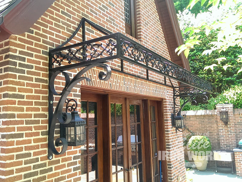 Wrought iron awning frames